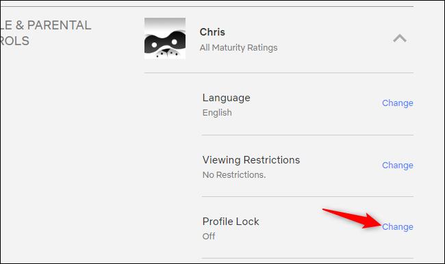 Accessing Profile Lock on Netflix's website