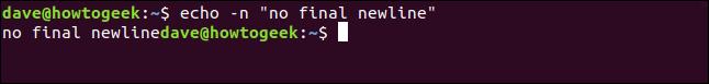 "echo -n ""no final newline"" in a terminal window"