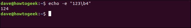 """echo -e """"123\b4"""" in a terminal window"""