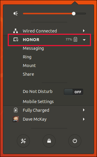 GNOME system menu with a paired device