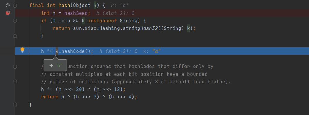 变量h与key的hashCode进行异或运算