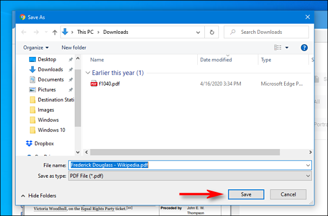 Click Save in the file save dialog box in Google Chrome
