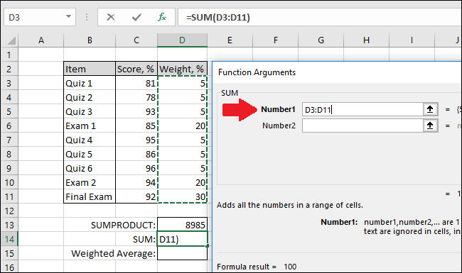 In the Number1 box, select the cells with the weights