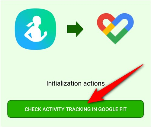 """Tap the """"Check Activity Tracking in Google Fit"""" button"""