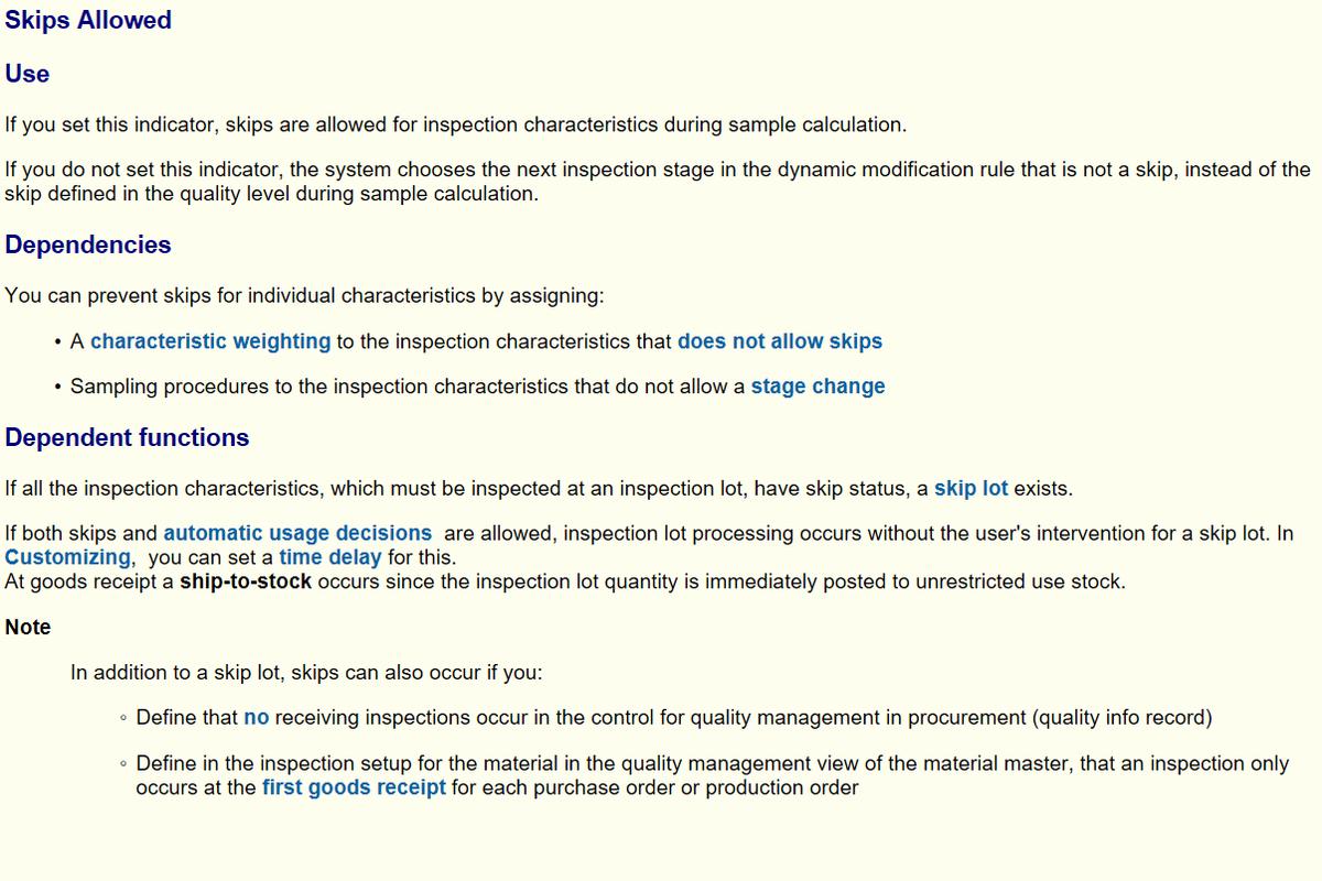 SAP QM 物料主数据检验类型上的Skips allowed