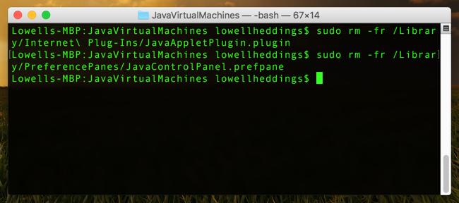 JavaVirtualMachines _—_- bash _—__ 67×14