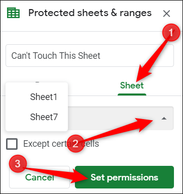 Click Sheet, then choose a sheet from the drop-down menu, and finally, click Set Permissions