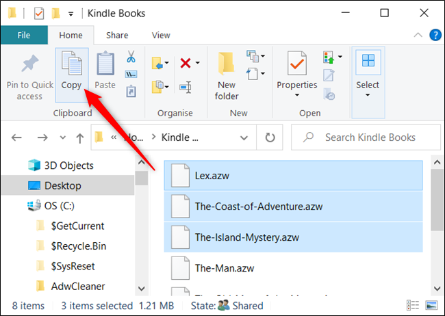 "Highlight the files and click ""Copy"" from the Home tab."