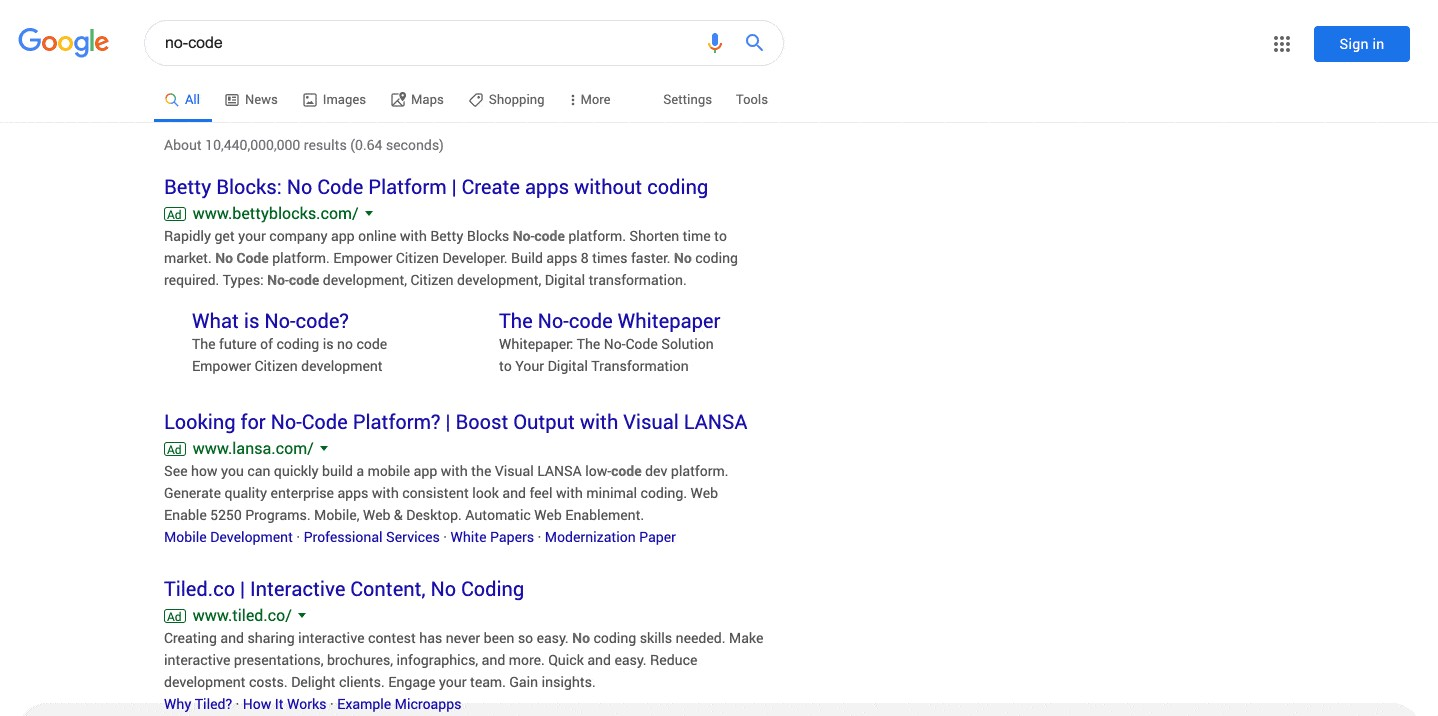 """Google search results page for the query """"no-code"""""""