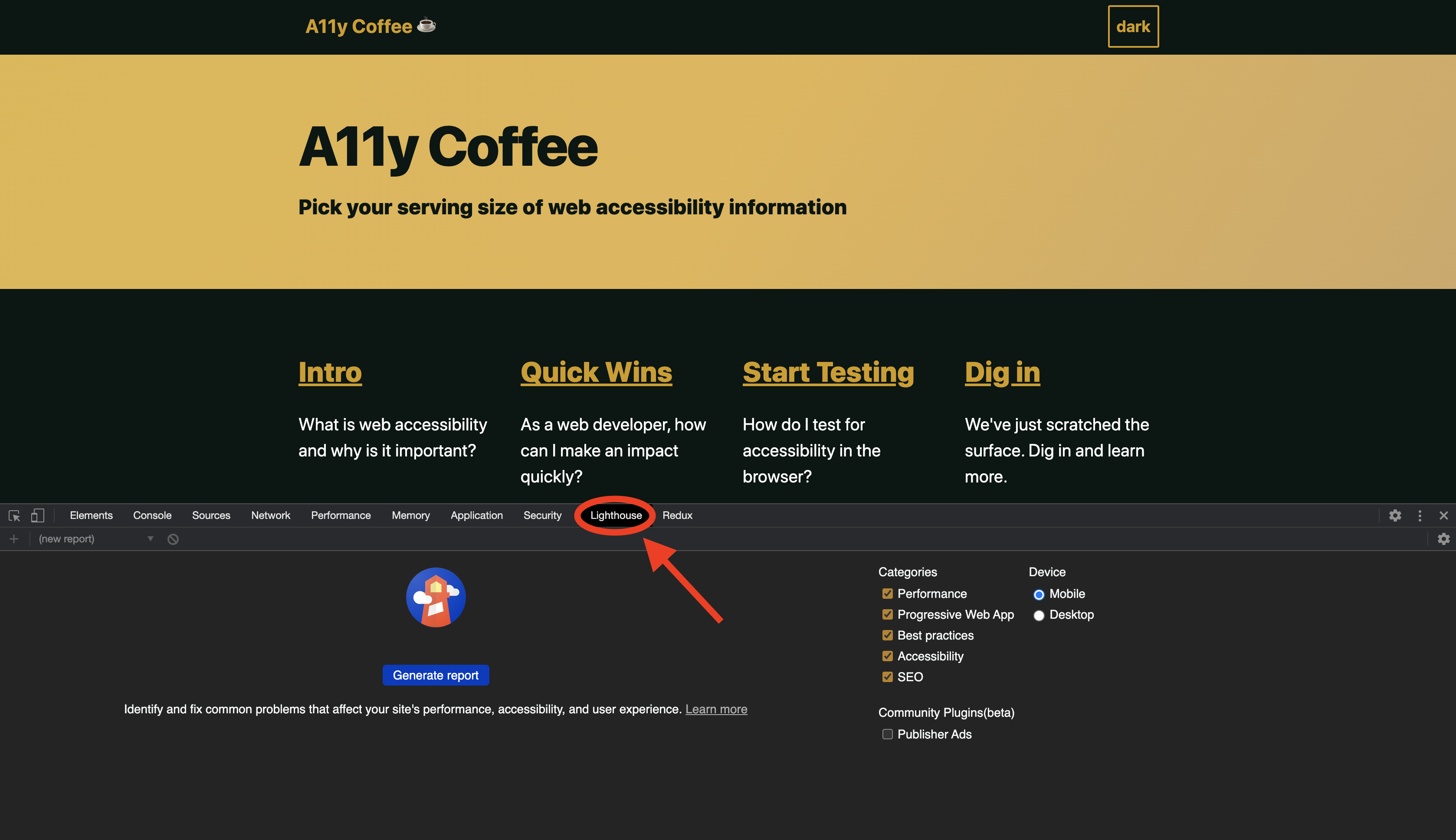 a11y.coffee, a collection of information and resources about web accessibility, with Chrome DevTools open