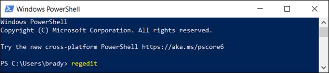 "The ""regedit"" command in a ""Windows PowerShell"" window."