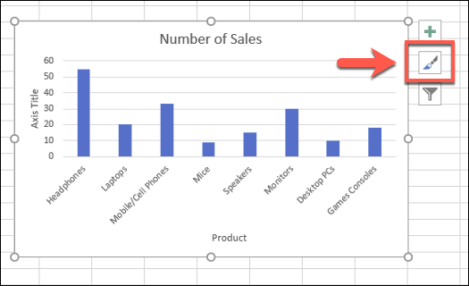 "To change the chart styles for an Excel bar chart, select the chart, then press the ""Chart Styles"" icon"