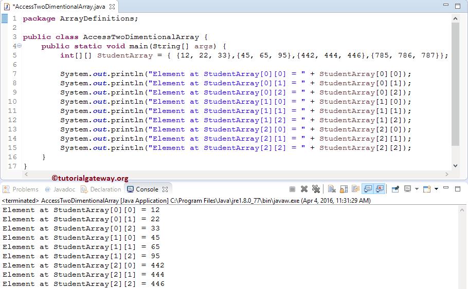 Java 1中的二维数组