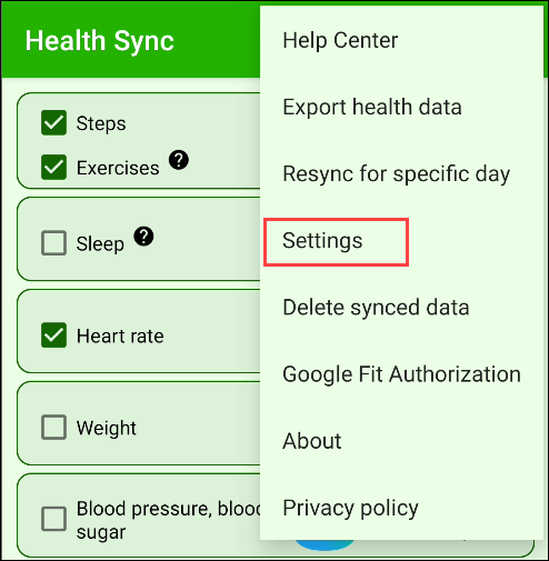 """Tap """"Settings"""" in the Health Sync app."""