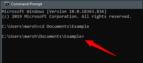 Command Prompt showing the user which folder they are currently in