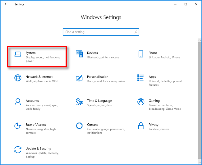 Click System in Settings on Windows 10