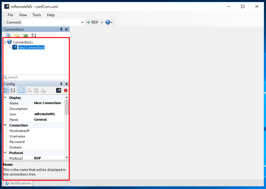 Add Connection with Keyboard Shortcut CTRL+N