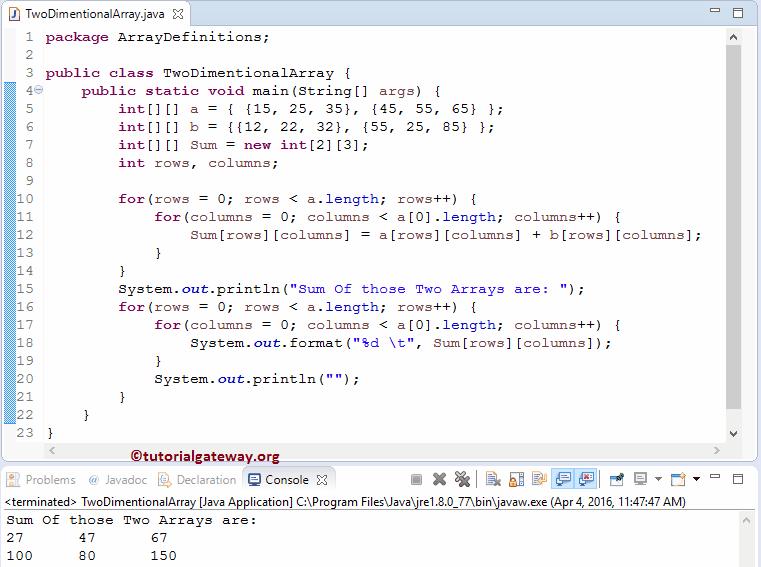 Java 2中的二维数组