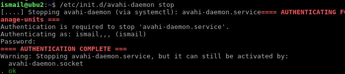Stopping Avahi