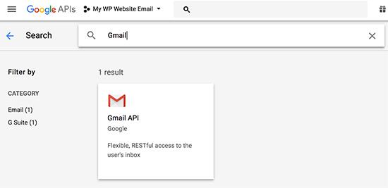 Select Gmail API
