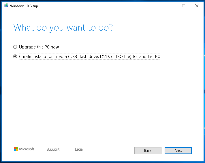 Windows 10 Media Creation Selections