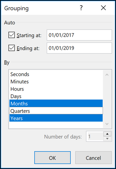 Specifying Years and Months in the Group dialog