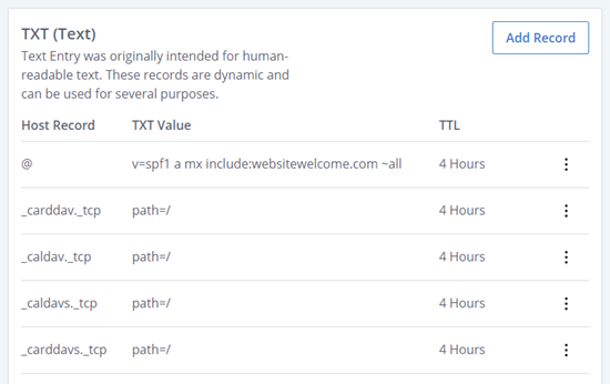 DNS TXT records in Bluehost