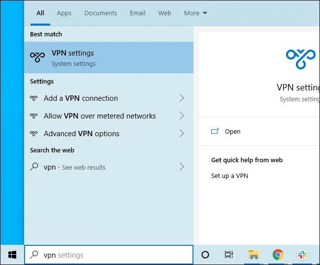 Searching Windows 10's Start menu for VPN settings