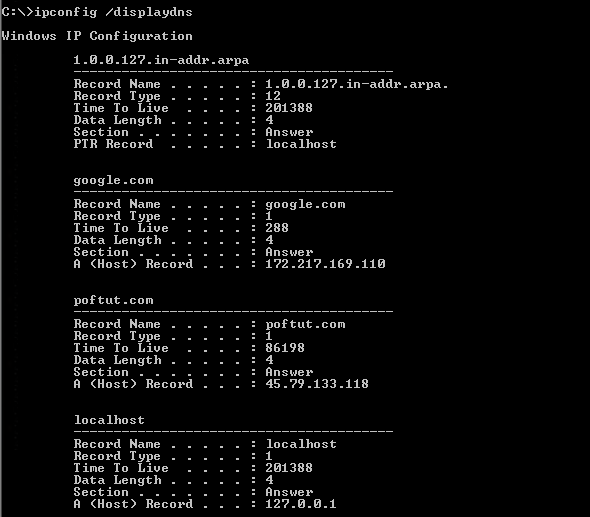 Print and List Current DNS Cache Entries