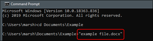 enter file name and extension in command prompt to open file