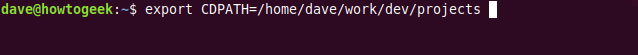 """The """"export CDPATH=/home/dave/work/dev/projects"""" command in a terminal window."""