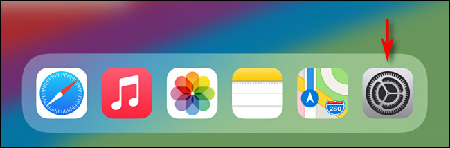 Tap the gray Settings app icon on iPad - iPadOS