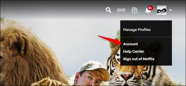 Opening Netflix account settings