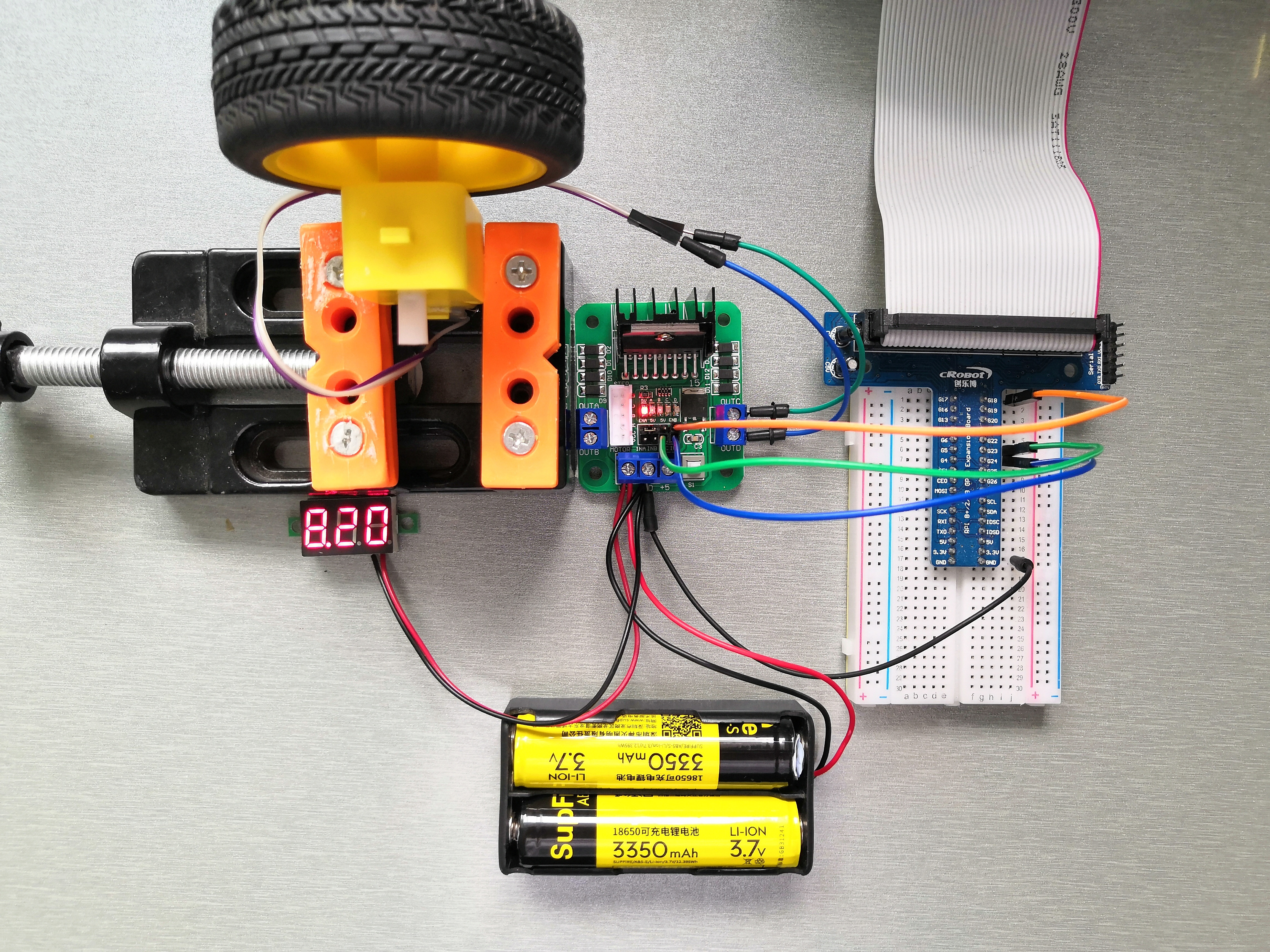 L298N模块驱动直流电机实物接线图