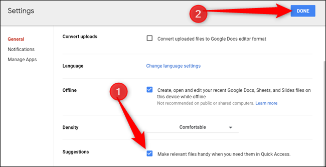 """Enable Quick Access by checking the box next to """"Make relevant files handy when you need them in Quick Access."""""""