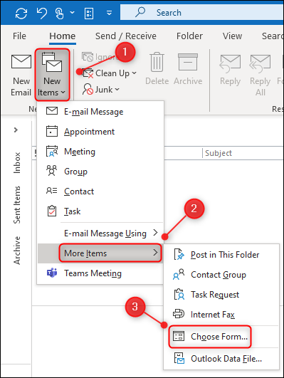 "To open a template in Outlook, you have to click ""Home,"" select ""New Items,"" click ""More Items,"" and then click ""Choose Form.""."