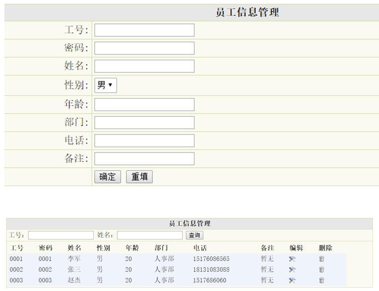员工信息管理列表