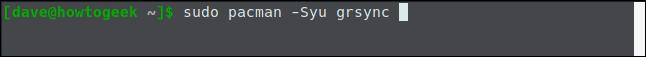 sudo pacman -Syu grsync in a terminal window