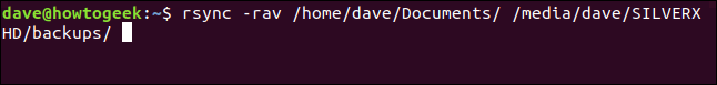 rsync -rav /home/dave/Documents/ /media/dave/SILVERXHD/backups/ in a terminal window