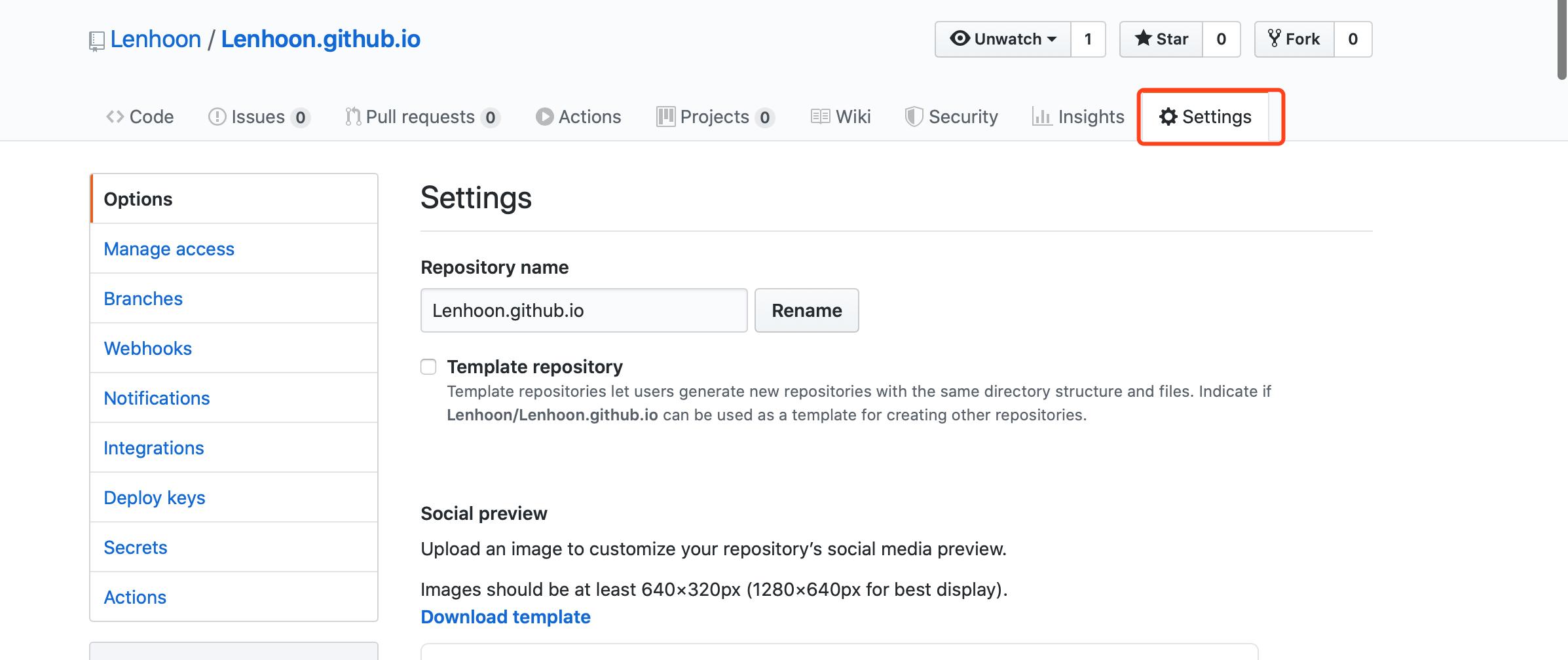 打开GitHubPagesSetting选项