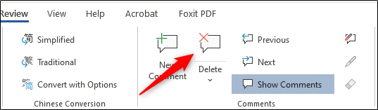 Delete Comment from ribbon