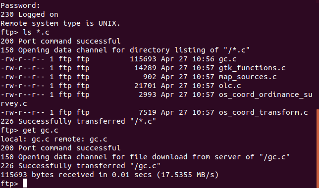 ftp file transfer in a terminal window