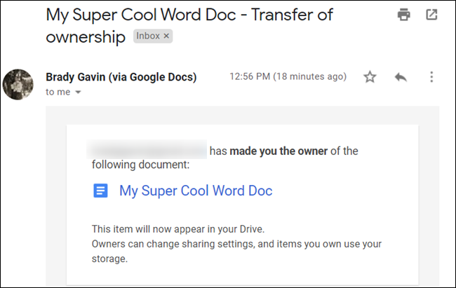 An email notifying the new owner of their new responsibilities is sent to their inbox.