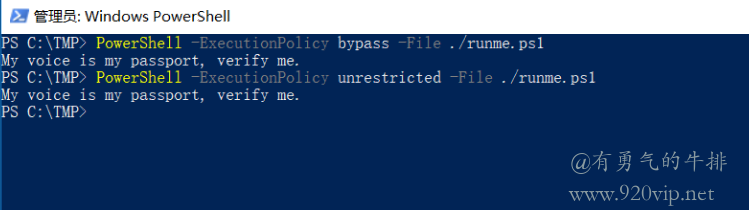 Windows PowerShell使用Unrestricted执行策略标志