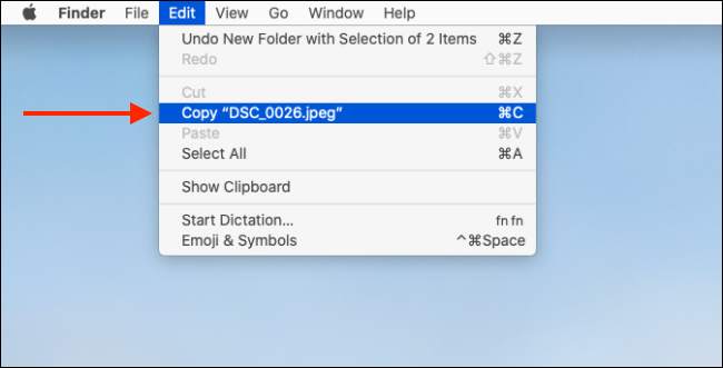 Select the copy option from Edit menu
