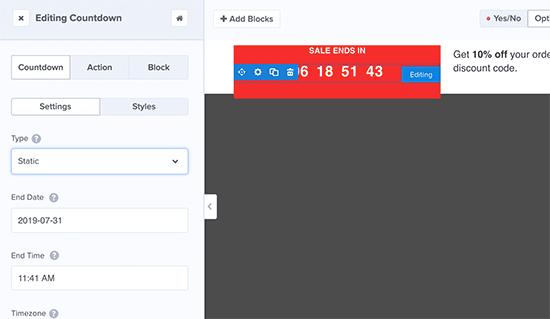 Edit countdown timer