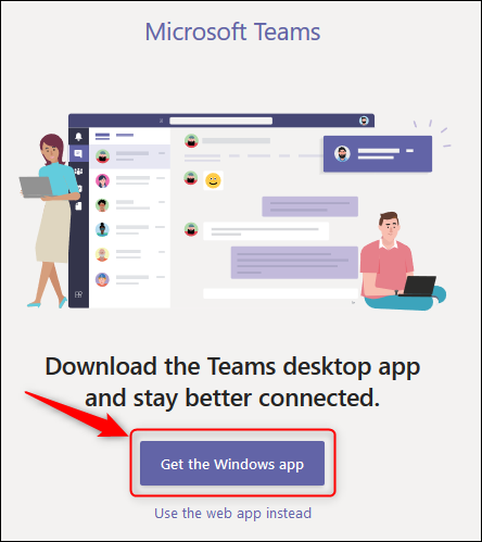 """The """"Get the Windows app"""" button in Teams online."""