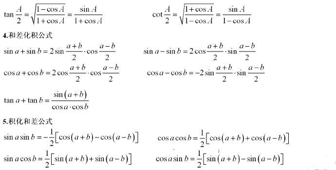 微积分常用公式