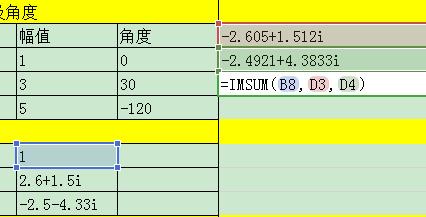 Excel或C语言复数运算