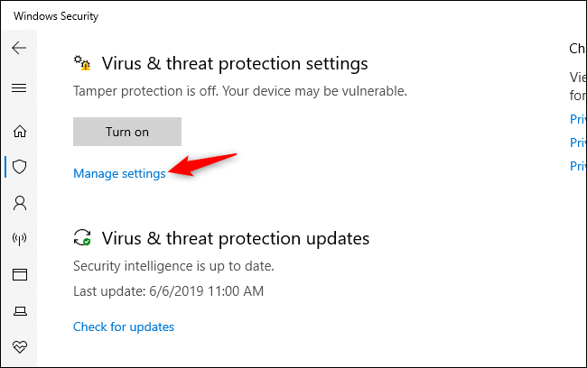 Manage settings link for Virus & threat protection settings